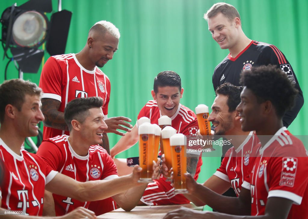 Thomas Mueller, Robert Lewandowski, Jerome Boateng, Robert Lewandowski, James Rodriguez, David Alaba and Manuel Neuer attend the FC Bayern Muenchen Paulaner photo shoot in traditional Bavarian lederhosen on September 13, 2017 in Munich, Germany.