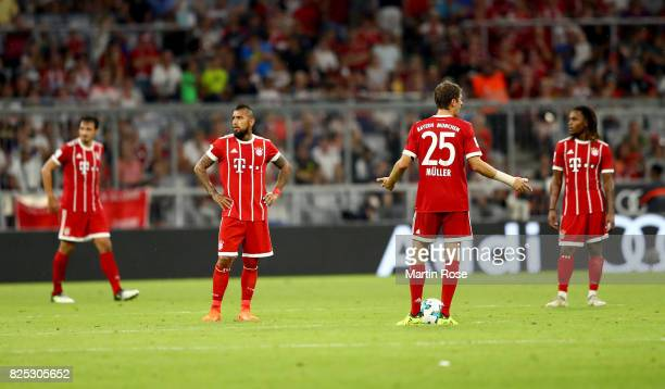Thomas Mueller#25 of Muenchen reacts during the Audi Cup 2017 match between Bayern Muenchen and Liverpool FC at Allianz Arena on August 1 2017 in...