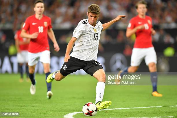 Thomas Mueller of Germany during the FIFA 2018 World Cup Qualifier between Germany and Norway at MercedesBenz Arena on September 4 2017 in Stuttgart...
