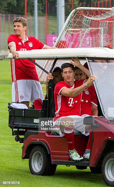 Thomas Muller and Robert Lewandowski of FC Bayern Munich are seen during the team presentation on August 10 2016 in Munich Germany