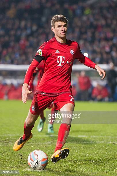 Thomas Muller of Bayern Munich misses a penalty during the Bundesliga match between VfL Bochum and Bayern Munich on February 4 2016 at the...