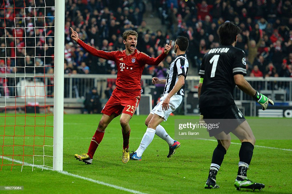 Thomas Muller of FC Bayern Muenchen celebrates after scoring his team's second goal during the UEFA Champions League quarter final first leg match between FC Bayern Muenchen and Juventus at Allianz Arena on April 2, 2013 in Munich, Germany.