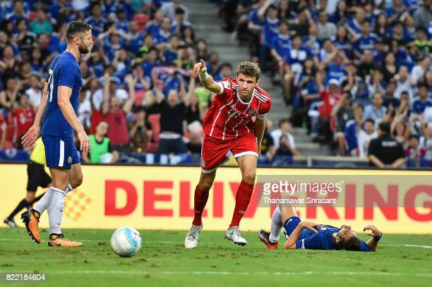 Thomas Muller of FC Bayern Muenchen celebrates during the International Champions Cup match between Chelsea FC and FC Bayern Munich at National...