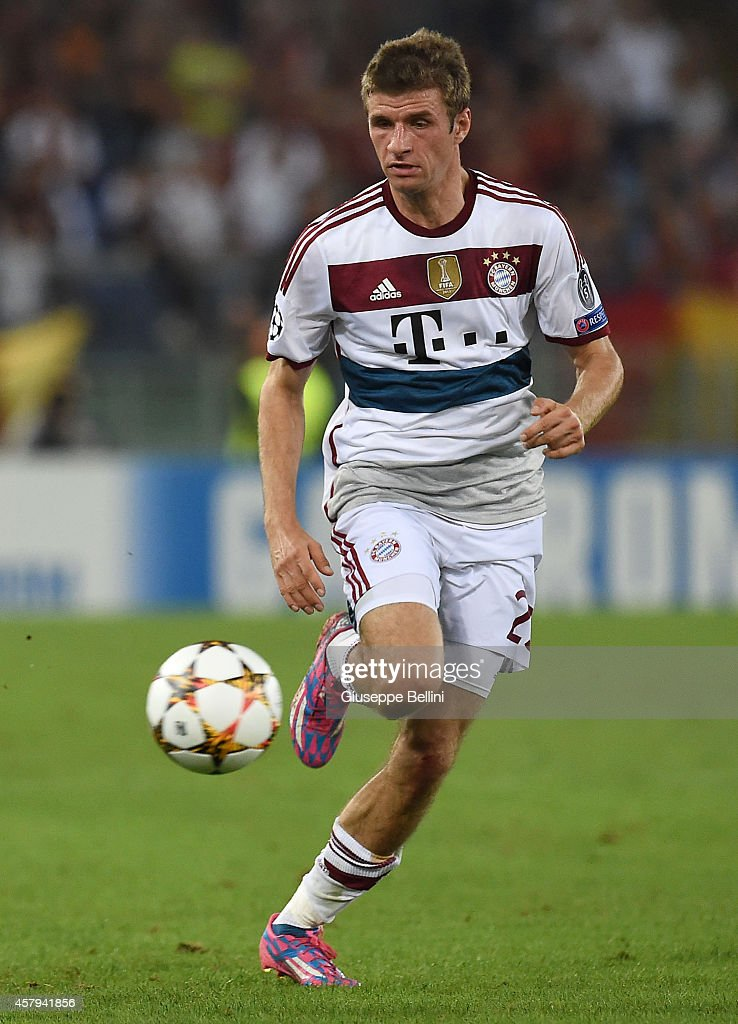 Thomas Muller of FC Bayern Muenchen in action during the UEFA Champions League match between AS Roma and FC Bayern Muenchen at Stadio Olimpico on October 21, 2014 in Rome, Italy.