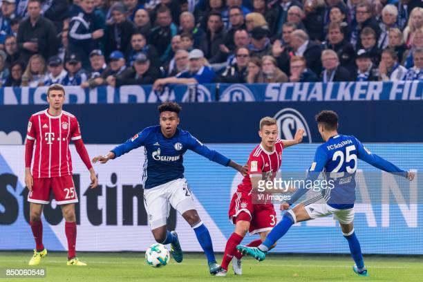 Thomas Muller of FC Bayern Munich Weston McKennie of FC Schalke 04 Joshua Kimmich of FC Bayern Munich Amine Harit of FC Schalke 04 during the...