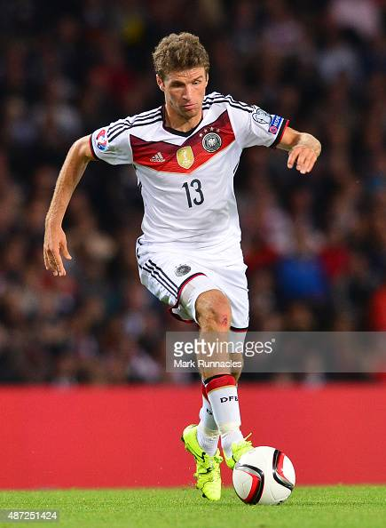 Thomas Muller of Germany in action during the EURO 2016 Qualifier between Scotland and Germany at Hamden Park on September 7 2015 in Glasgow Scotland