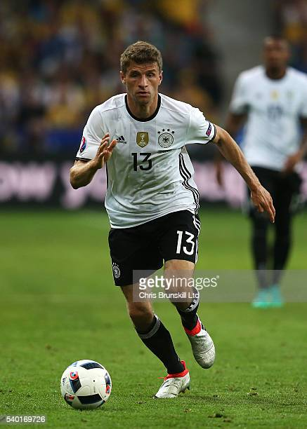 Thomas Muller of Germany in action during the UEFA Euro 2016 Group C match between Germany and Ukraine at Stade PierreMauroy on June 12 2016 in Lille...
