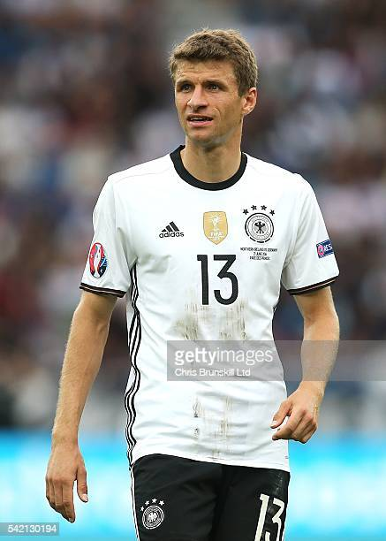 Thomas Muller of Germany looks on during the UEFA Euro 2016 Group C match between the Northern Ireland and Germany at Parc des Princes on June 21...