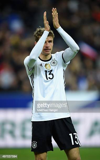 Thomas Muller of Germany reacts during the International Friendly match between France and Germany at the Stade de France on November 13 2015 in...