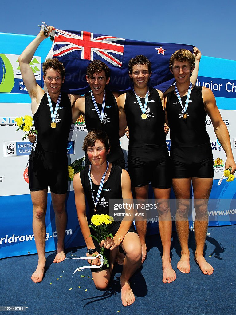 Thomas Murray Michael Brake Cameron Webster Thomas Jenkins and Sam Bosworth of New Zealand pictured after winning the Junior Men's Coxed Four during...