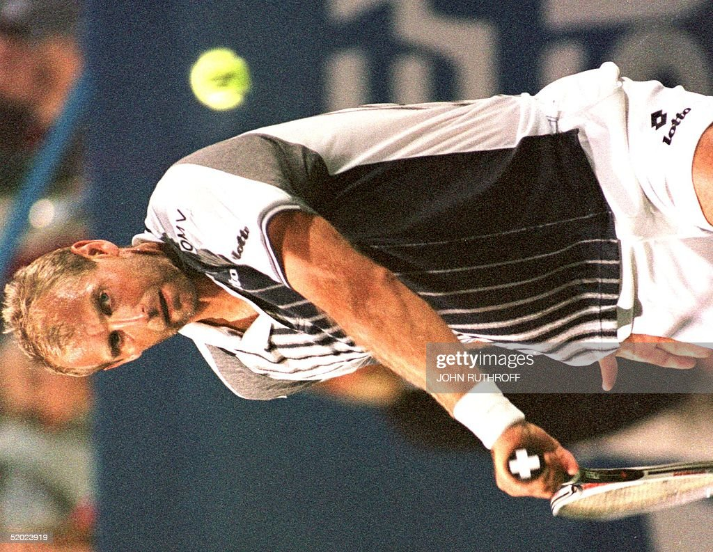 Thomas Muster of Austria eyes the ball during his