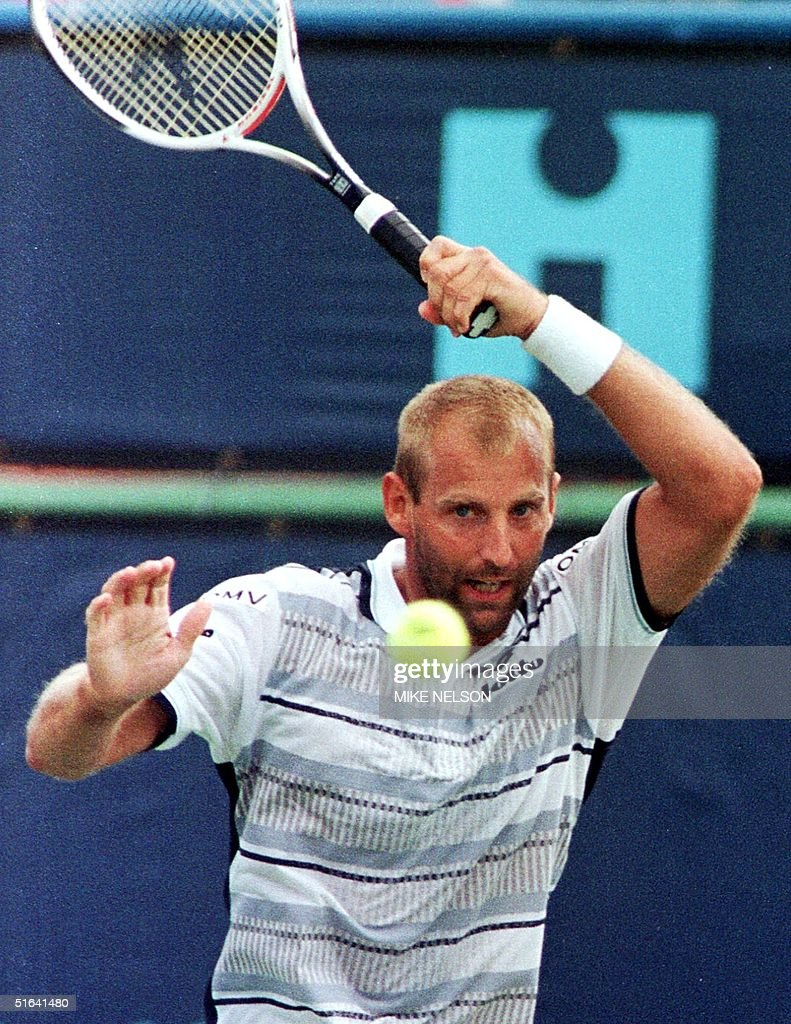 Thomas Muster of Austria hits a forehand against G