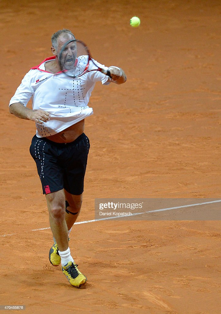 Thomas Muster of Austria in action during his Berenberg Classic match against Andre Agassi of the USA on day one of the Porsche Tennis Grand Prix at...