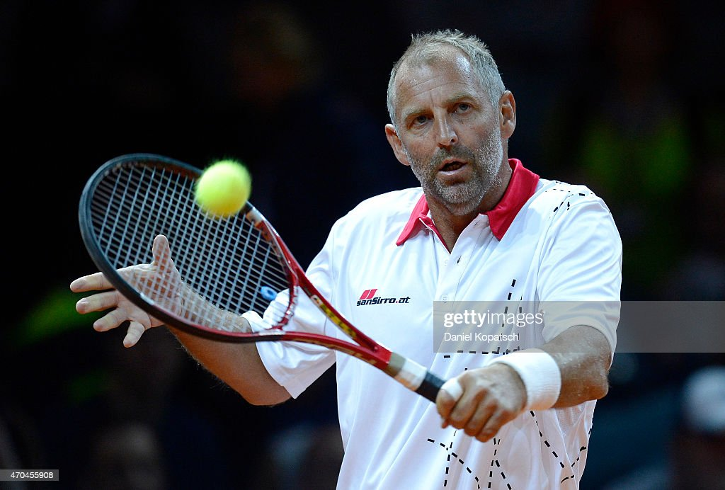 Thomas Muster of Austria in action during his Berenberg Classic match against Andre Agassi of the USA on day one of the Porsche Tennis Grand Prix at Porsche-Arena on April 20, 2015 in Stuttgart, Germany.