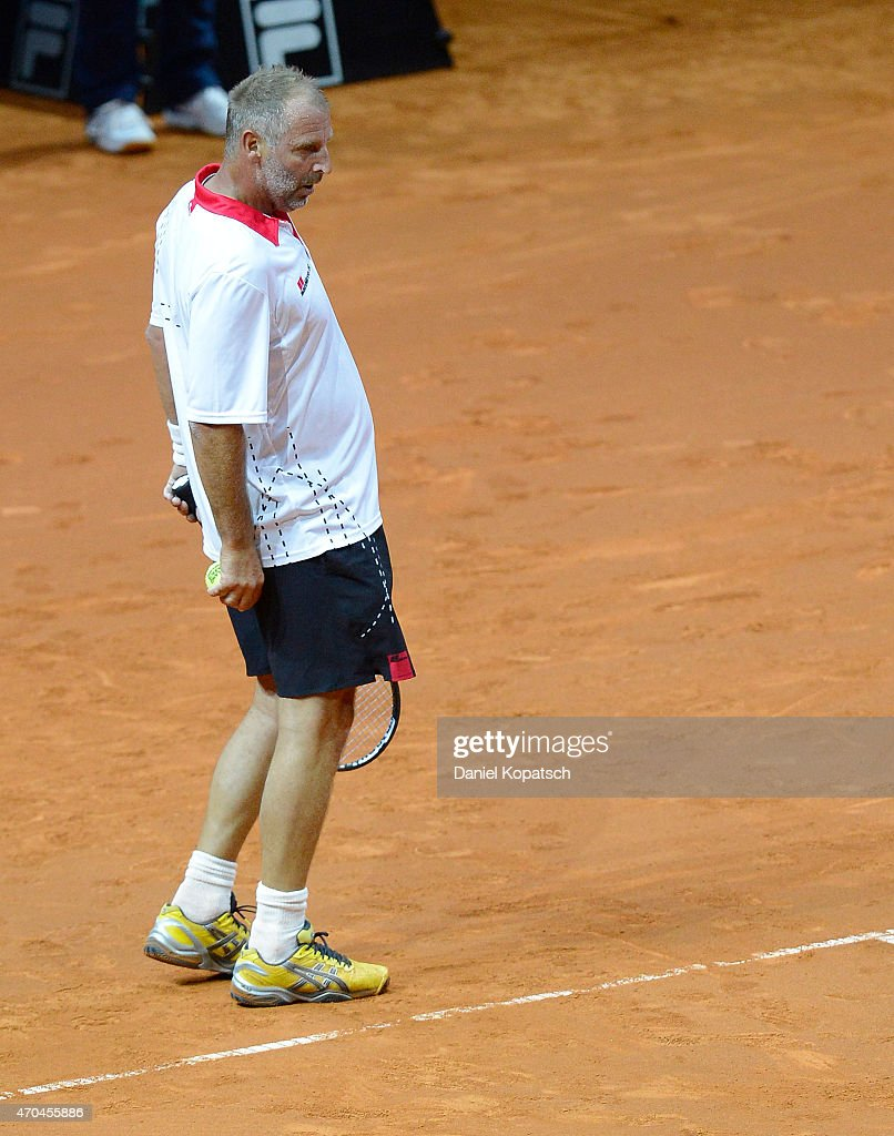 Thomas Muster of Austria reacts during his Berenberg Classic match against Andre Agassi of the USA on day one of the Porsche Tennis Grand Prix at...