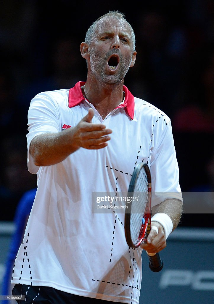 Thomas Muster of Austria reacts during his Berenberg Classic match against Andre Agassi of the USA on day one of the Porsche Tennis Grand Prix at Porsche-Arena on April 20, 2015 in Stuttgart, Germany.
