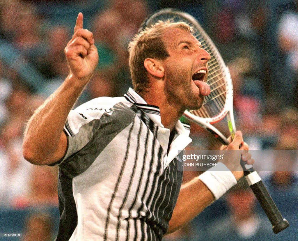 Thomas Muster of Austria reacts to an unreturned s