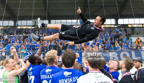 Thomas Norgaard assistant coach of Lyngby Boldklub celebrates their victory after the Danish Alka Superliga match between FC Midtjylland and Lyngby...