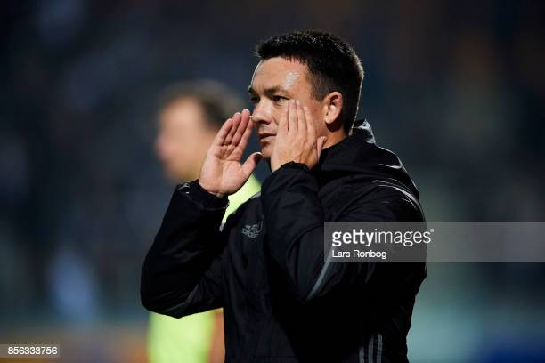 Thomas Norgaard head coach of Lyngby BK gestures during the Danish Alka Superliga match between Lyngby BK and FC Copenhagen at Lyngby Stadion on...