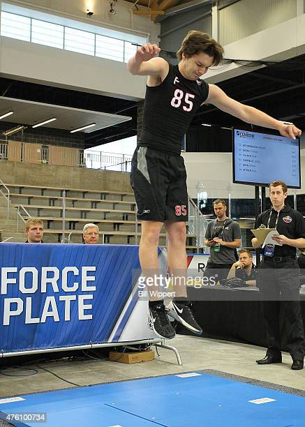 Thomas Novak performs a jump test during the NHL Combine at HarborCenter on June 6 2015 in Buffalo New York