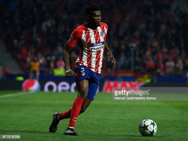 Thomas of Atletico de Madrid runs with the ball during the UEFA Champions League group C match between Atletico Madrid and AS Roma at Estadio Wanda...