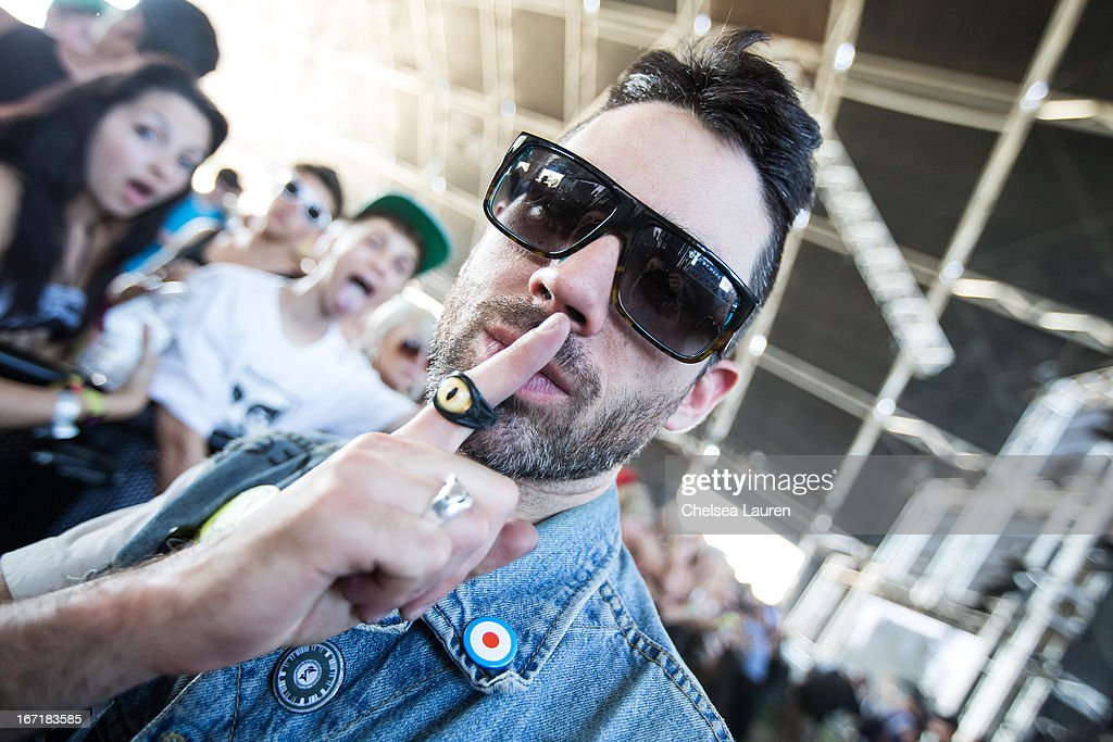 DJ Thomas of Dirtyphonics poses during the Coachella Valley Music & Arts Festival at The Empire Polo Club on April 21, 2013 in Indio, California.
