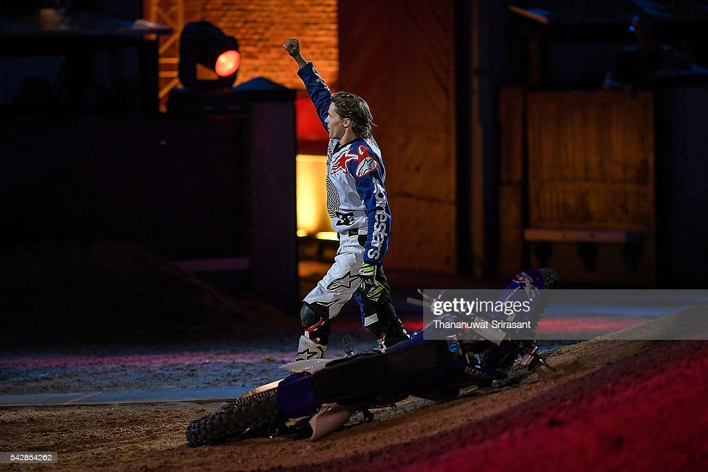 Thomas Pages of France celebrates during Red Bull X Fighter on June 24, 2016 in Madrid, Spain.