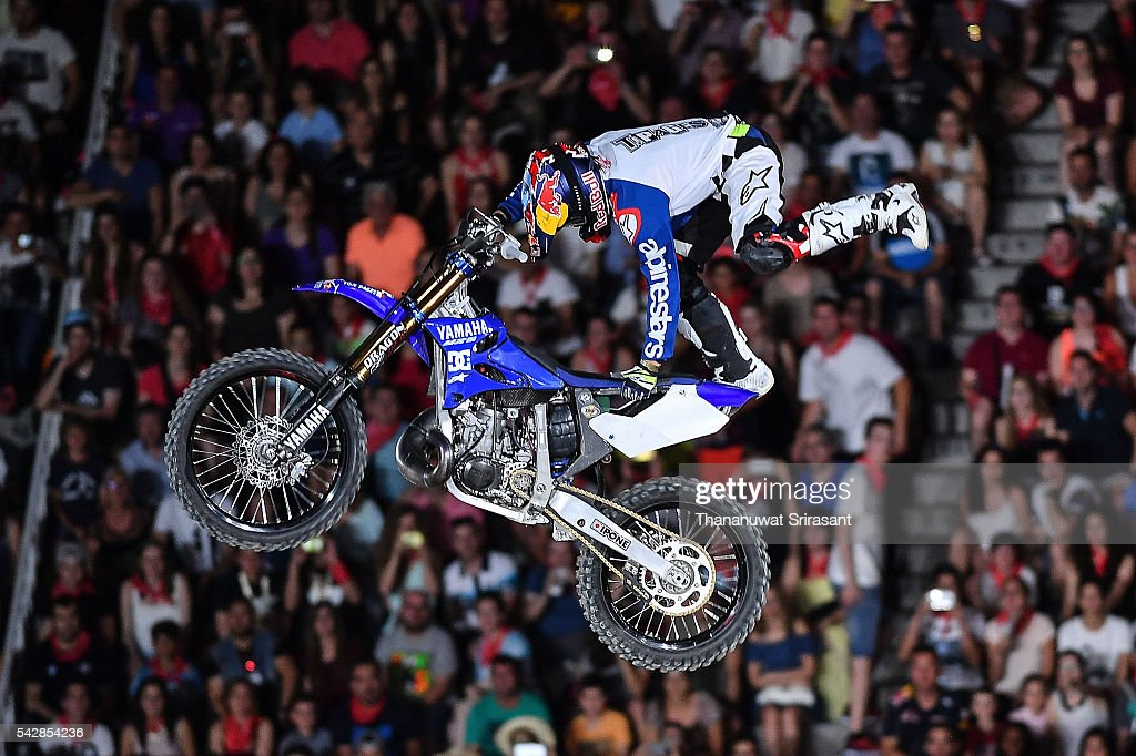 Thomas Pages of France competes during Red Bull X Fighter on June 24, 2016 in Madrid, Spain.
