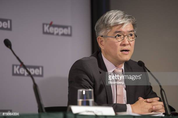 Thomas Pang chief executive officer of Keppel Telecom and Transportation Ltd speaks during a news briefing in Singapore on Thursday July 20 2017...