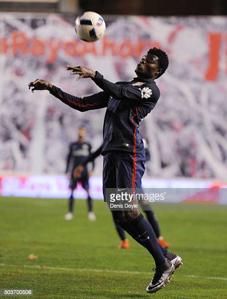 Thomas Partey of Club Atletico de Madrid in action during the Copa del Rey Round of 16 First Leg match between Rayo Vallecano de Madrid and Club...