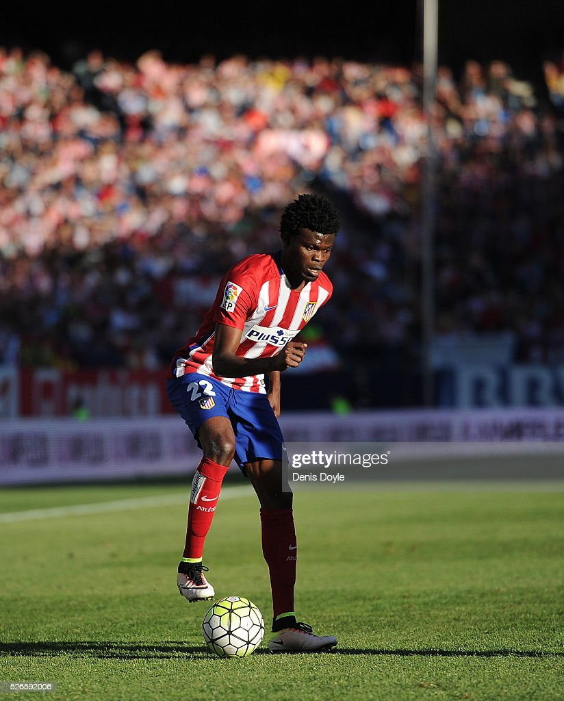 <a gi-track='captionPersonalityLinkClicked' href=/galleries/search?phrase=Thomas+Partey&family=editorial&specificpeople=13560196 ng-click='$event.stopPropagation()'>Thomas Partey</a> of Club Atletico de Madrid in action during the La Liga match between Club Atletico de Madrid and Rayo Vallecano at Vicente Calderon Stadium on April 30, 2016 in Madrid, Spain.
