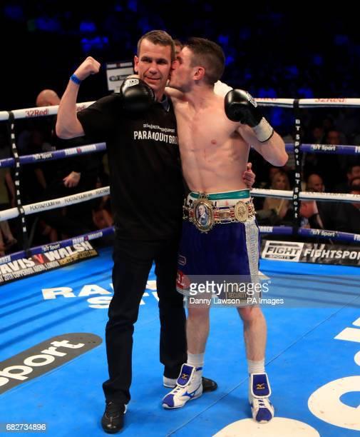 Thomas Patrick Ward celebrates beating Jazza Dickens during their British SuperBantamweight Championship bout at the First Direct Arena Leeds