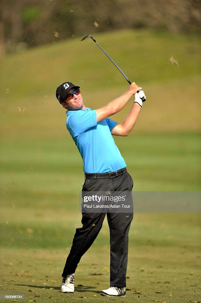 Thomas Petersson of Sweden plays a shot during round four of the Asian Tour Qualifying School Final Stage at Springfield Royal Country Club on January 26, 2013 in Hua Hin, Thailand.