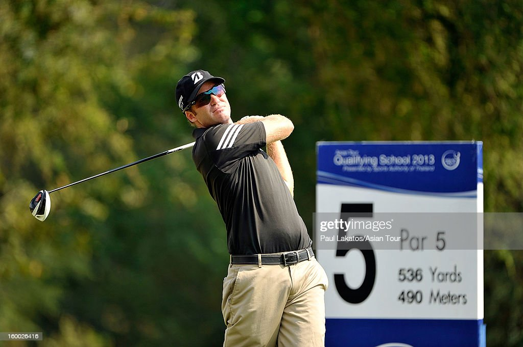 Thomas Petersson of Sweden plays a shot during round three of the Asian Tour Qualifying School Final Stage at Springfield Royal Country Club on January 25, 2013 in Hua Hin, Thailand.