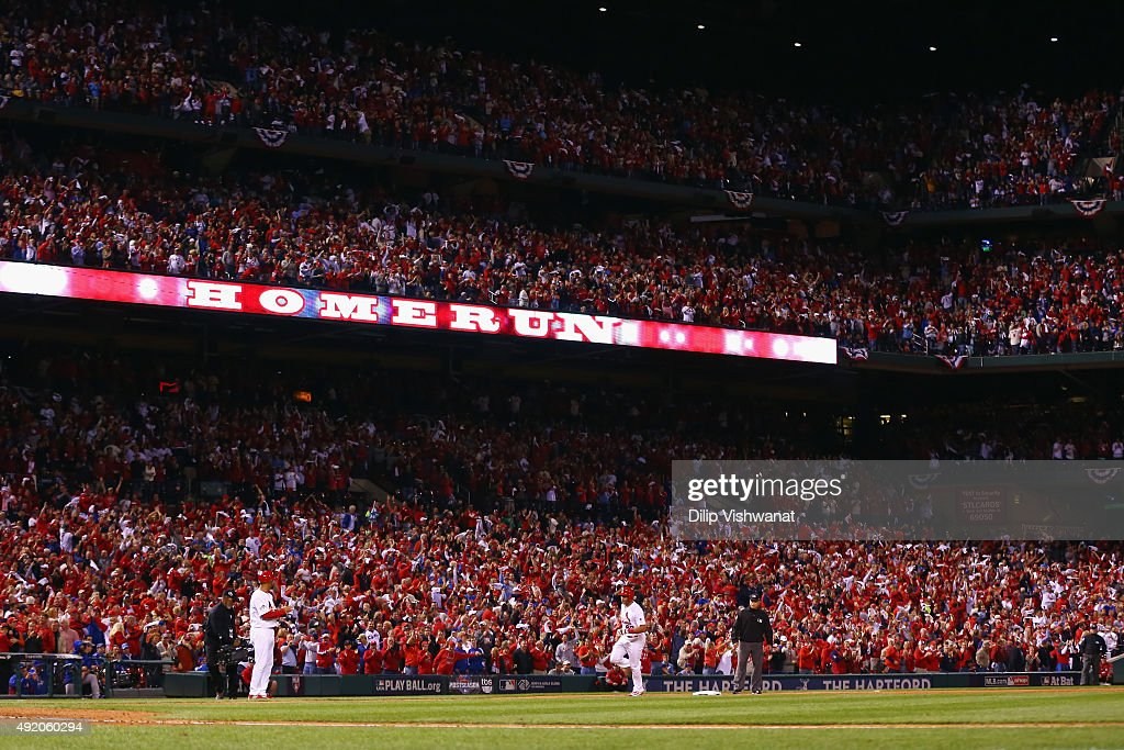 Thomas Pham #60 of the St. Louis Cardinals runs the bases after hitting a solo home run in the eighth inning against the Chicago Cubs during game one of the National League Division Series at Busch Stadium on October 9, 2015 in St Louis, Missouri.