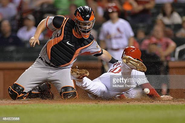 Thomas Pham of the St Louis Cardinals scores as Andrew Susac of the San Francisco Giants is unable to make the tag in the seventh inning at Busch...