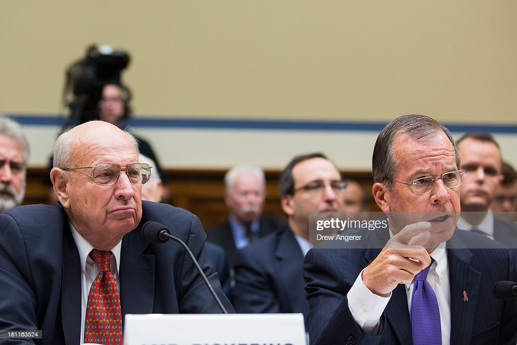 Thomas Pickering (L), retired U.S. ambassador and Chairman of the Benghazi Accountability Review Board, and Admiral Mike Mullen, former Chairman of the Joint Chiefs of Staff and current Vice-Chairman of the Benghazi Accountability Review Board, testify during a House Oversight Committee hearing entitled 'Reviews of the Benghazi Attack and Unanswered Questions,' in the Rayburn House Office Building on Capitol Hill, September 19, 2013 in Washington, DC. Committee Chairman Darrell Issa (R-CA) is continuing to lead the GOP investigation of the Sept. 11, 2012, assaults that killed U.S. Ambassador J. Christopher Stevens and three other Americans at the U.S. Consulate in Benghazi, Libya.