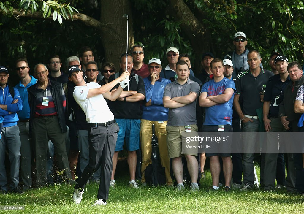 Thomas Pieters of Belgium hits his 2nd shot on the 4th hole during day two of the BMW PGA Championship at Wentworth on May 27, 2016 in Virginia Water, England.