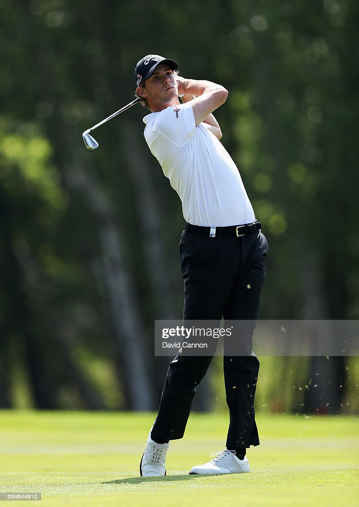 <a gi-track='captionPersonalityLinkClicked' href=/galleries/search?phrase=Thomas+Pieters&family=editorial&specificpeople=7157992 ng-click='$event.stopPropagation()'>Thomas Pieters</a> of Belgium hits his 2nd shot on the 9th hole during day two of the BMW PGA Championship at Wentworth on May 27, 2016 in Virginia Water, England.
