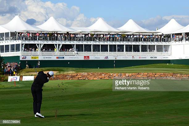 Thomas Pieters of Belgium hits his second shot on the 18th hole during the final round of the DD REAL Czech Masters at Albatross Golf Resort on...