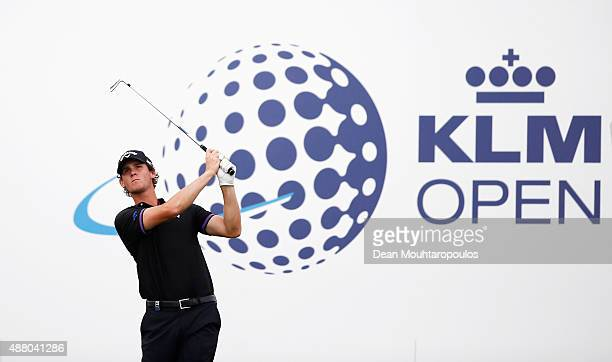 Thomas Pieters of Belgium hits his tee shot on the 15th hole during the KLM Open Final Round held at Kennemer G CC on September 13 2015 in Zandvoort...