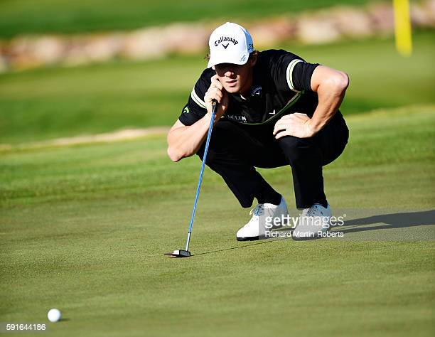 Thomas Pieters of Belgium lines up a putt on the 12th green during day one of the DD REAL Czech Masters at Albatross Golf Resort on August 18 2016 in...