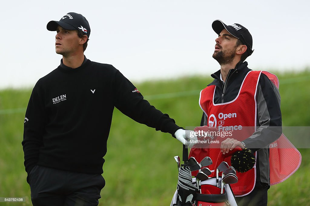 <a gi-track='captionPersonalityLinkClicked' href=/galleries/search?phrase=Thomas+Pieters&family=editorial&specificpeople=7157992 ng-click='$event.stopPropagation()'>Thomas Pieters</a> of Belgium looks on with caddie Adam Marrow during day one of the 100th Open de France at Le Golf National on June 30, 2016 in Paris, France.