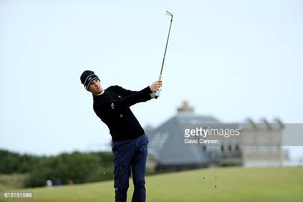 Thomas Pieters of Belgium plays his second shot at the 10th hole during the second round of the Alfred Dunhill Links Championship on the Golf Links...