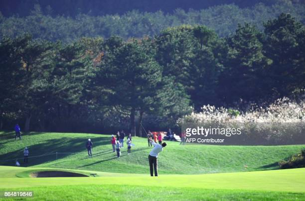 Thomas Pieters of Belgium plays his second shot on the 3rd hole during the final round of the CJ Cup at Nine Bridges in Jeju Island on October 22...
