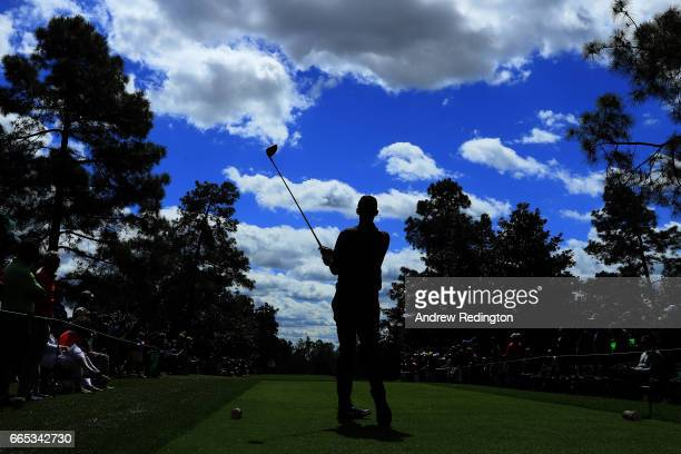 Thomas Pieters of Belgium plays his shot from the ninth tee during the first round of the 2017 Masters Tournament at Augusta National Golf Club on...
