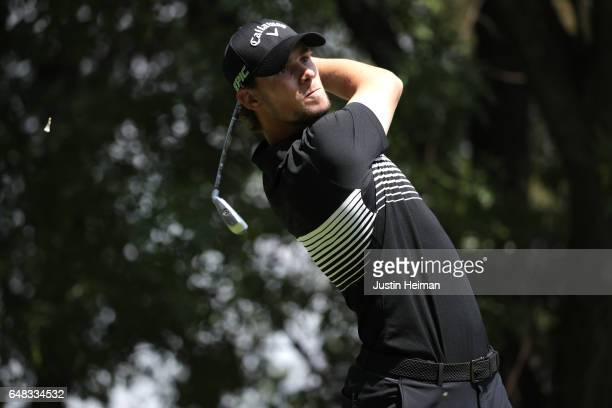 Thomas Pieters of Belgium plays his tee shot on the eighth hole during the final round of the World Golf Championships Mexico Championship at Club De...