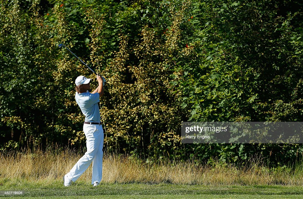Thomas Pieters of Belgium plays out of the rough at the eighteenth on day three of the M2M Russian Open at Tseleevo Golf & Polo Club on July 26, 2014 in Moscow, Russia.