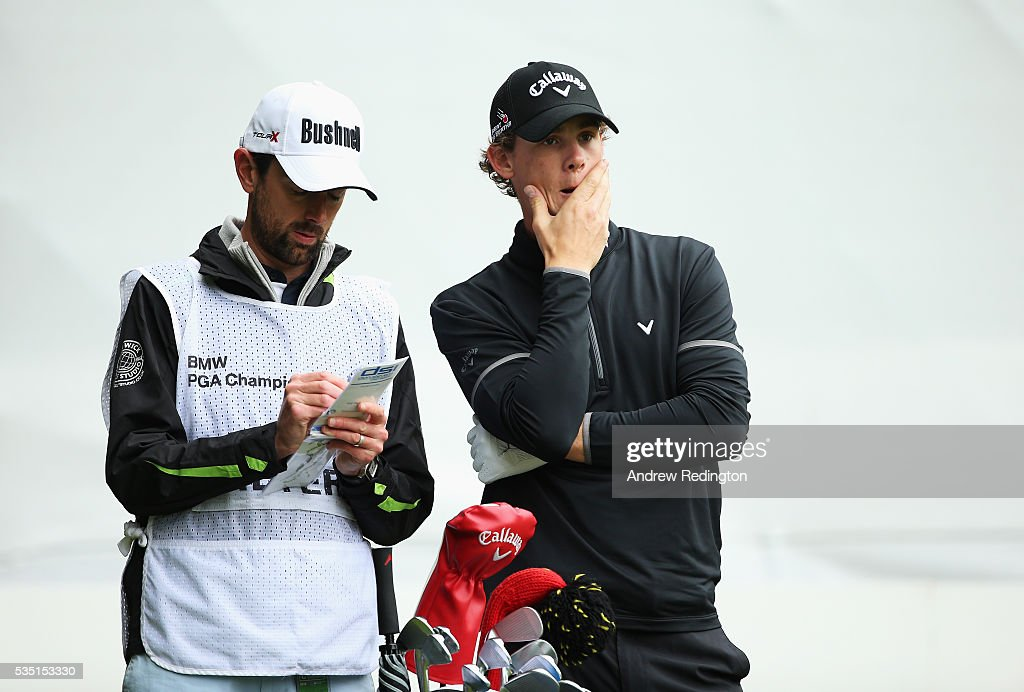 <a gi-track='captionPersonalityLinkClicked' href=/galleries/search?phrase=Thomas+Pieters&family=editorial&specificpeople=7157992 ng-click='$event.stopPropagation()'>Thomas Pieters</a> of Belgium talks with caddie Adam Marrow on the 2nd tee during day four of the BMW PGA Championship at Wentworth on May 29, 2016 in Virginia Water, England.