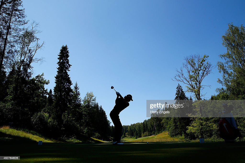 Thomas Pieters of Belgium tees off at the twelfth on day four of the M2M Russian Open at Tseleevo Golf & Polo Club on July 27, 2014 in Moscow, Russia.